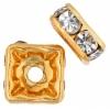 Rhinestone Square Rondelle (Flat) 4X4mm Crystal/gold